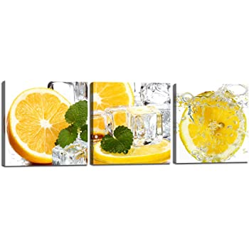 Apple Lemon Lime Fruit Slices CANVAS WALL ART DECO LARGE READY TO HANG all sizes
