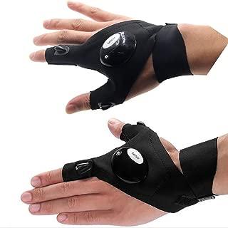 Cuitan LED Taschenlampe Handschuh, 2 LED Licht Nacht Outdoor Sport Daumen Zeigefinger-Handschuhe LED Licht Finger Handschuhe für Camping Wandern Nachtangeln Radfahren Night Running Notüberlebens