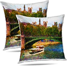 Tyfuty Set of 2 18 x 18 Inch Elements Throw Pillow Covers Oil Paris Scene Acrylic Architecture Art Beautiful Blue Boat Bridge Brush Pillowcases Cushion Use for Living Room Bed Sofa