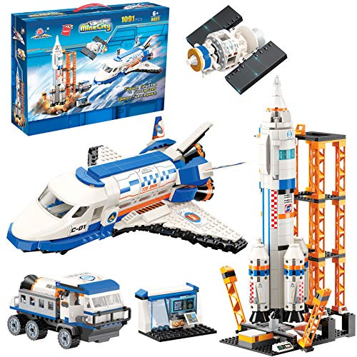 City Space Mars Exploration Space Shuttle Toy Building Kit, City Space Rocket and Launch Control Model Rocket Building Set, STEM Astronaut Roleplay Spaceship Toy for Boys and Girls (1091 Pieces)