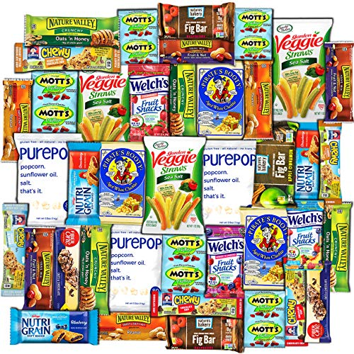 Canopy - Healthy Snacks Care Package (40 Count) - Variety Assortment with Fruit Snacks, Granola Bars, Popcorn and More, Gift Snack Box, Offices, College Students, Final Exams, Valentine's Day Present