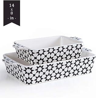 Bakeware Set,SIDUCAL 2 PCS Ceramic Baking Dish Set,Rectangular ServingBakeware with Heat-Resistant,14x8 Inches,Black
