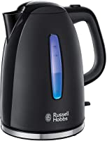 Russell Hobbs Textures Plus Waterkoker Zwart (1,7L), Snelkookfunctie, Extra Zuinig, Gemakkelijk Reinigbaar, 2.400 Watt/...