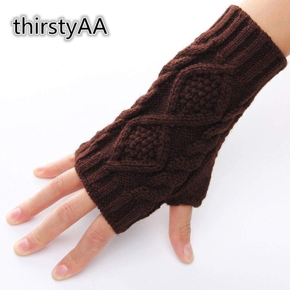 1Pair Unisex Knitted Long Stretchy Fingerless Gloves Mitten Men Women Winter Gloves Hand Arm Warmer Female Gloves - (Color: Khaki)