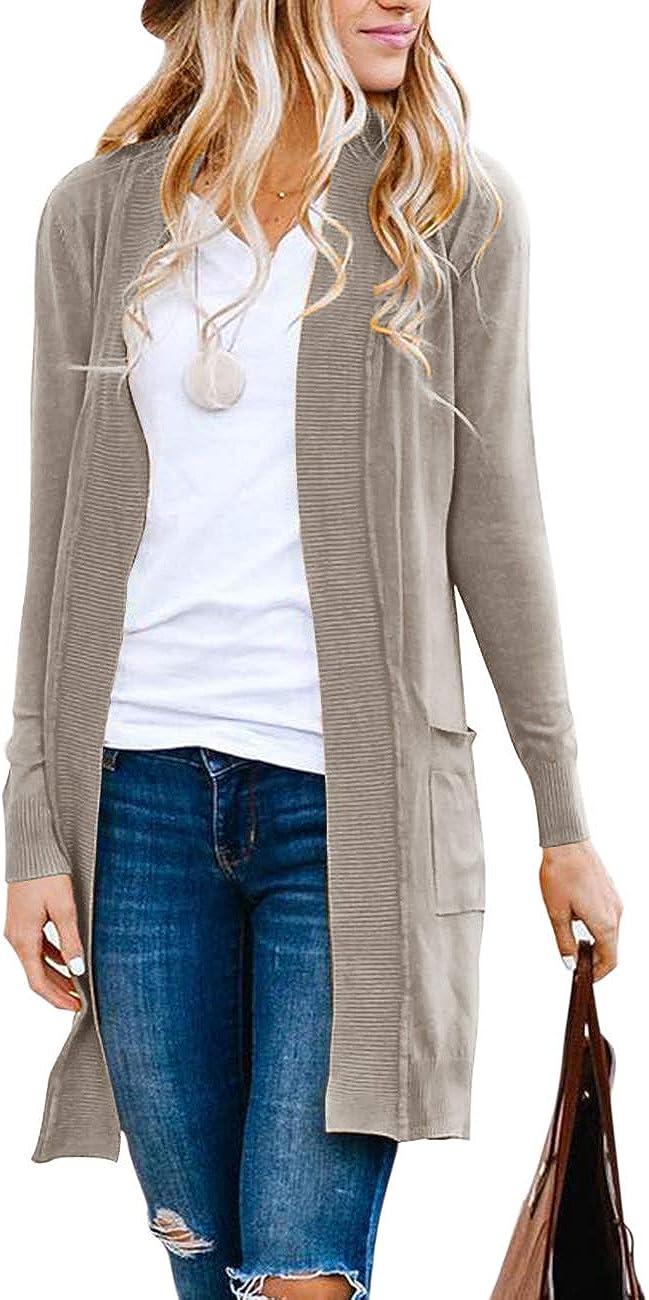 MEROKEETY Women's Long Sleeve Basic Knit Cardigan Ribbed Open Front Sweater Coat