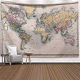 N / A Vintage World Map Pattern Wall Arazzo Arazzo da Parete Fattoria Stuoia per Dormire Arazzo Decorativo per la casa Sfondo Panno Decorativo Arazzo A12 130x150 cm