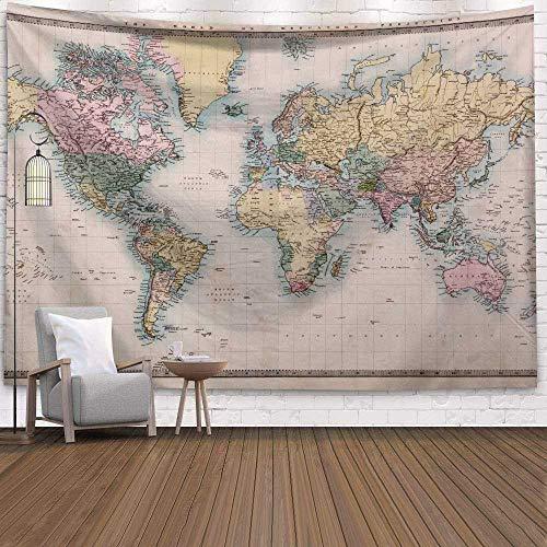 N / A Vintage Mapa del Mundo Patrón Tapiz de Pared Tapiz de Pared Casa de Campo Estera para Dormir Tapiz Decorativo para el hogar Fondo de Tela Tapiz Decorativo A12 73x95cm
