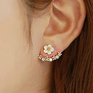 ChainSee Women's Fashion Flower Daisies Crystal Rear Ear Stud Earrings Jewelry For Girl (Gold)