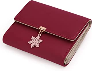 UTO Small Wallet for Women PU Leather Snowflake Pendant Card Holder Organizer Zipper Coin Cute Purse Christmas Limited Edition