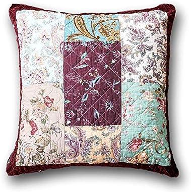 "DaDa Bedding Bohemian Euro Pillow Sham - Patchwork Burgundy Velvety Trim - Floral Paisley Bright Vibrant Multi-Colorful - 26"""