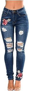 Pantalones Mujer Vaqueros Delgados Rasgados del Dril de Algodón, Pantalones Elásticos Bordados pies Pequeños Flor Tamaño S...
