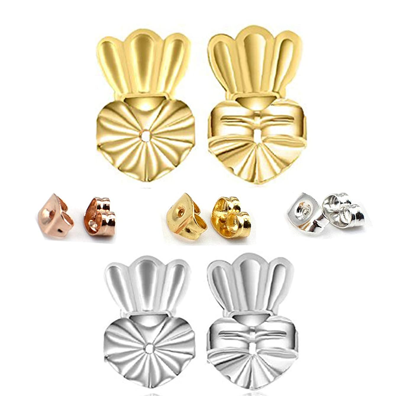Earring Backs - Amzonbasics Earring Lifters ? 2 Pairs of Adjustable Magic Back Earring Lift for Droopy Ears (Sterling Silver, 18k Gold Plated, Crown) +3 Pair Small Earings Backs