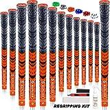 SAPLIZE マルチコンパウンドゴルフグリップ 13ピース 完全リグリップキット付き ハイブリッドゴルフクラブグリップ 蛍光オレンジ CL03Sシリーズ