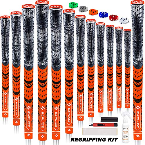 SAPLIZE Multi Compound Golf Grips, 13 Piece with Complete Regripping Kit, Cord Rubber, Hybrid Golf Club Grips, Fluorescent Orange CL03S Series