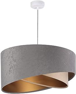 Lampe à suspension Kinga P Velours grey, beige & gold Ø 50 cm