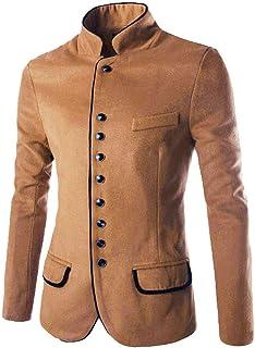 HX fashion Men's Suit Men's Suit Fit Men's Slim Leisure Tunic Comfortable Sizes Stand Collar Modern Coat Suit Jacket Shawl...