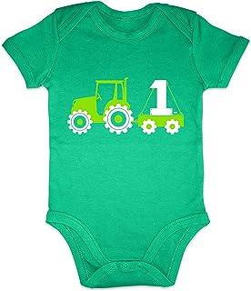 HARIZ Body de manga corta con tractor, excavadora de 1 cumpleaños para niños, coches, niños pequeños, incluye tarjeta de r...