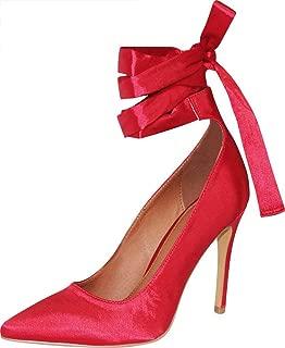 Cambridge Select Women's Pointed Toe Wraparound Ankle Tie Ballerina High Heel Stiletto Pump