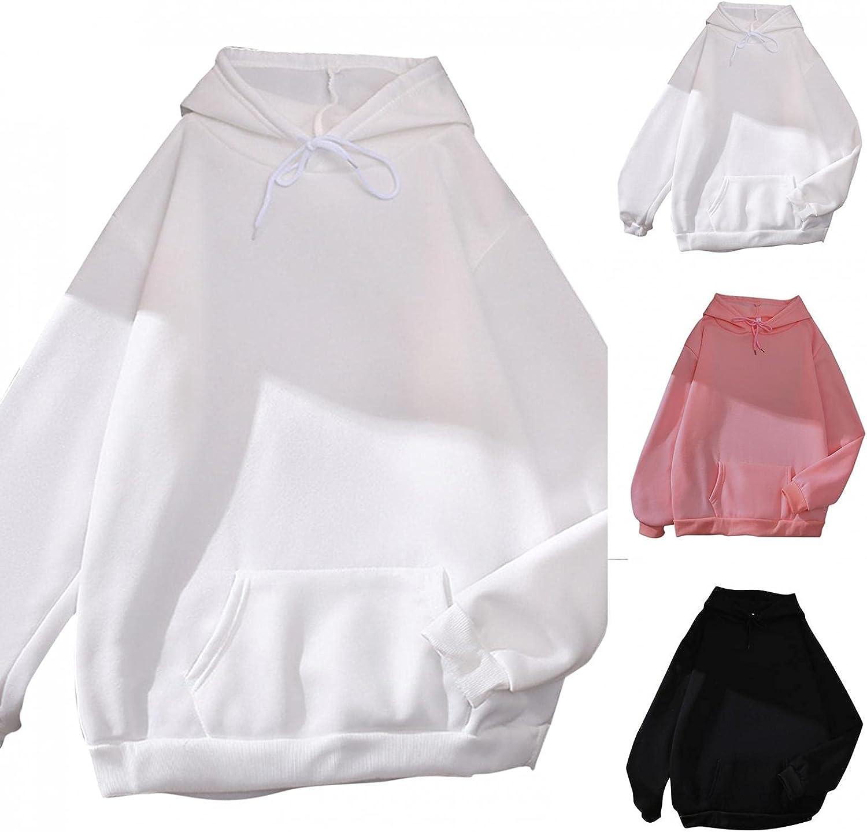 Sweatshirts for Women, Womens Classic Pure Color Sweatshirts Crewneck Drawstring Hoodies Long Sleeve Pullover Pocket