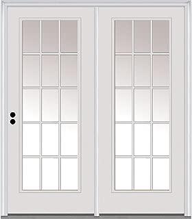 National Door Company Z001632R Steel, Primed, Right Hand in-Swing, Center Hinged Patio Door, Clear Glass 15 Lite, 64