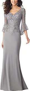 PearlBridal Women's Bodycon Mermaid Mother of The Bride Dresses Lace Ruffle Sleeves Long Evening Party Gown