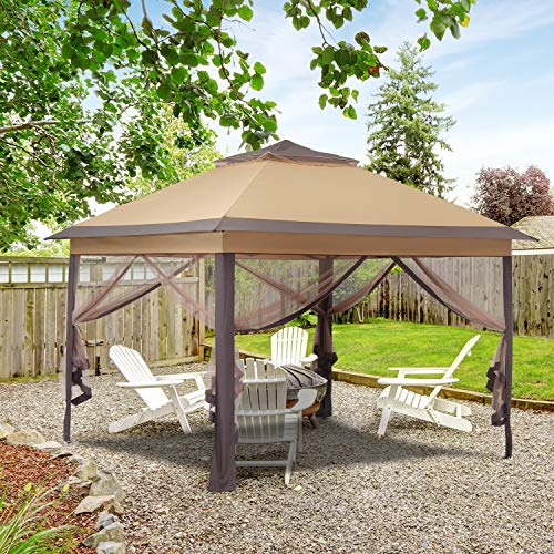 11x11ft Outdoor Pop up Gazebo Canopy with Netting Waterproof Patio Gazebo Shelter with Ground Nail and Rope(Khaki)