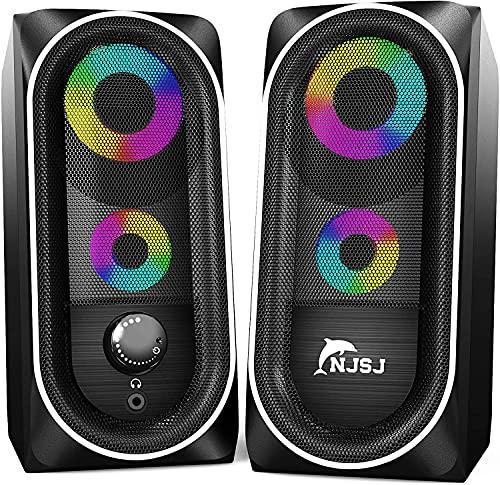 NJSJ Cassa PC USB Altoparlanti RGB Gaming 10 W Stereo Speaker 2.0 Cassa Portatile,Aux da 3,5 mm per PC, Laptop,Tablet,Giochi