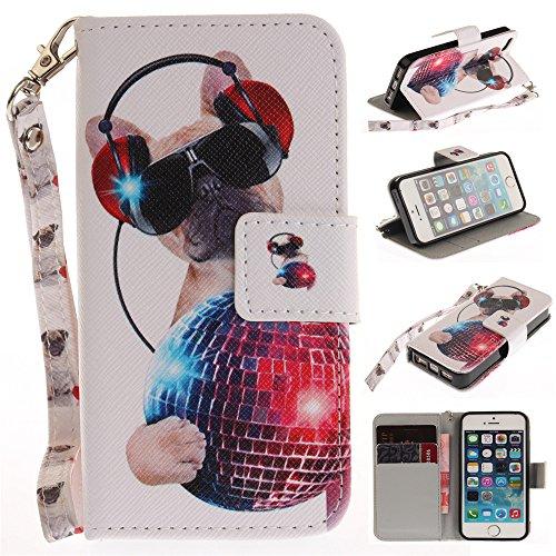 Capa tipo carteira XYX para iPhone 5S, [Fashion dog] [Al?a de pulso] Capa tipo carteira de couro premium PU com slots para cart?o para iPhone 5S / iPhone SE 2016