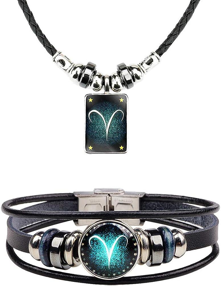 Zodiac Necklace Bracelet for Man Horoscope Sign Astrology Zodiac Star Necklace Birthday Gifts for Boys Girls