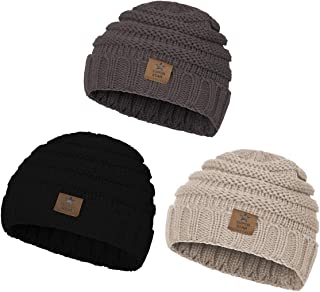 Zando   Winter Baby Beanie Hat Cute Soft Warm Knitted Beanies Infant Toddler Cozy Cap for Boys Girls D 3 Pack Grey Black Beige One Size(6-48 Months)