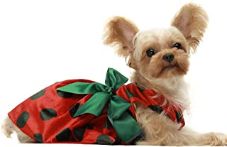 Fitwarm Christmas Dog Dresses Holiday Outfits Pet Clothes Cat Costume Polka Dot Red