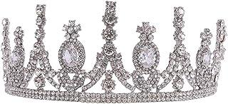 LUCKYYY Accessorio per Capelli da Sposa con diadema a Corona di Diamanti e zirconi d'Acqua per Matrimonio