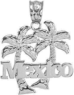 Polished 925 Sterling Silver Mexico Palm Tree Pendant Necklace