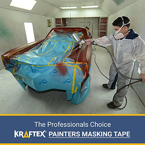 Painters Tape 180YRD x ¾ Inch for Pro Painting [CLEAN LINES EVERYTIME] 3 x 60YRD Rolls. Masking for Paint, Wallpaper, Wood, Glass, Metal. Protect Walls, Surface, Trim. Yellow Paper Tape, Prevent Stain Photo #7