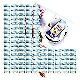 """MamboCat - Set di 100 vasetti in vetro per marmellate e conserve, 125 ml, con coperchio  a vite TO66 con motivo a quadretti blu Libro di ricette """"Gelierzauber"""" di Diamant-Zucker (lingua italiana non garantita)."""