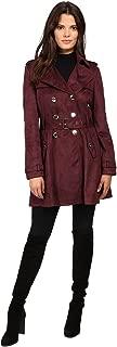 Women's Suede Belted Rain Trench Coat