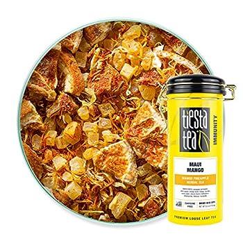 Tiesta Tea - Maui Mango Loose Leaf Mango Pineapple Herbal Tea Non-Caffeinated Hot & Iced Tea 6 oz Tin - 50 Cups Natural Flavors No Artificials Herbal Tea Loose Leaf Blend