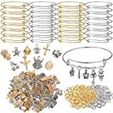 380 Pieces Tibetan Antique Charms Kit Include 150 Pieces Metal Gold and Silver Charms 30 Pieces Expandable Bangle Bracelet 200 Pieces Open Jump Ring for Bracelet Jewelry Making Supplies
