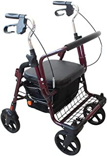 Elderly walker Old Shopping cart Aluminum Alloy Rubber Wheel Grocery Shopping Trolley with seat Portable Folding Wheelchair Walking Assisted walker