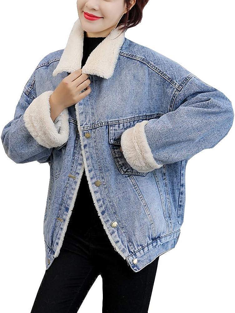 Arlita Women's Button Up Sherpa Fleece Lined Denim Jacket Loose Lapel Warm Fur Jean Trucker Jacket Overcoat
