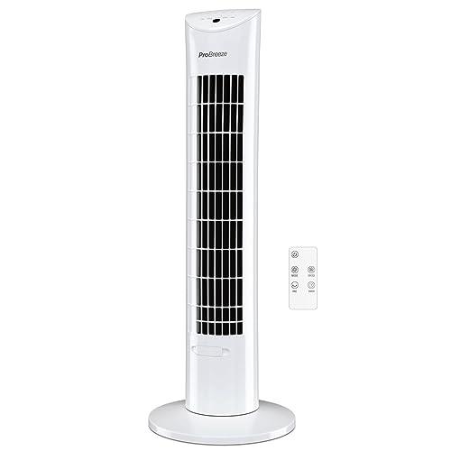 Pro Breeze® Ventilateur Tour oscillant avec télécommande et minuteur pour la Maison et Le Bureau 76 cm