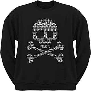 Skull & Crossbones Silhouette Ugly Christmas Sweater Black Adult Crew Neck Sweatshirt