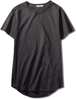 [Make 2 Be] スタイリッシュ 半袖 無地 ラウンドカット Tシャツ 前後アシメ カットソー メンズ レディース トップス 丈長 プチ ロング丈 MF93
