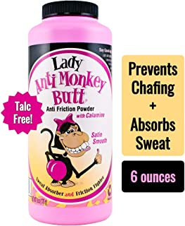 Lady Anti Monkey Butt | Women's Body Powder | Prevents Chafing and Absorbs Sweat | Talc Free | 6 Ounce (Pack of 1)