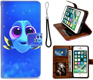 DISNEY COLLECTION Wallet Case with Strap with Kickstand Fits for Apple iPhone 6 Plus/iPhone 6s Plus 5.5in Baby Blue Dory Finding Fish Nemo Team