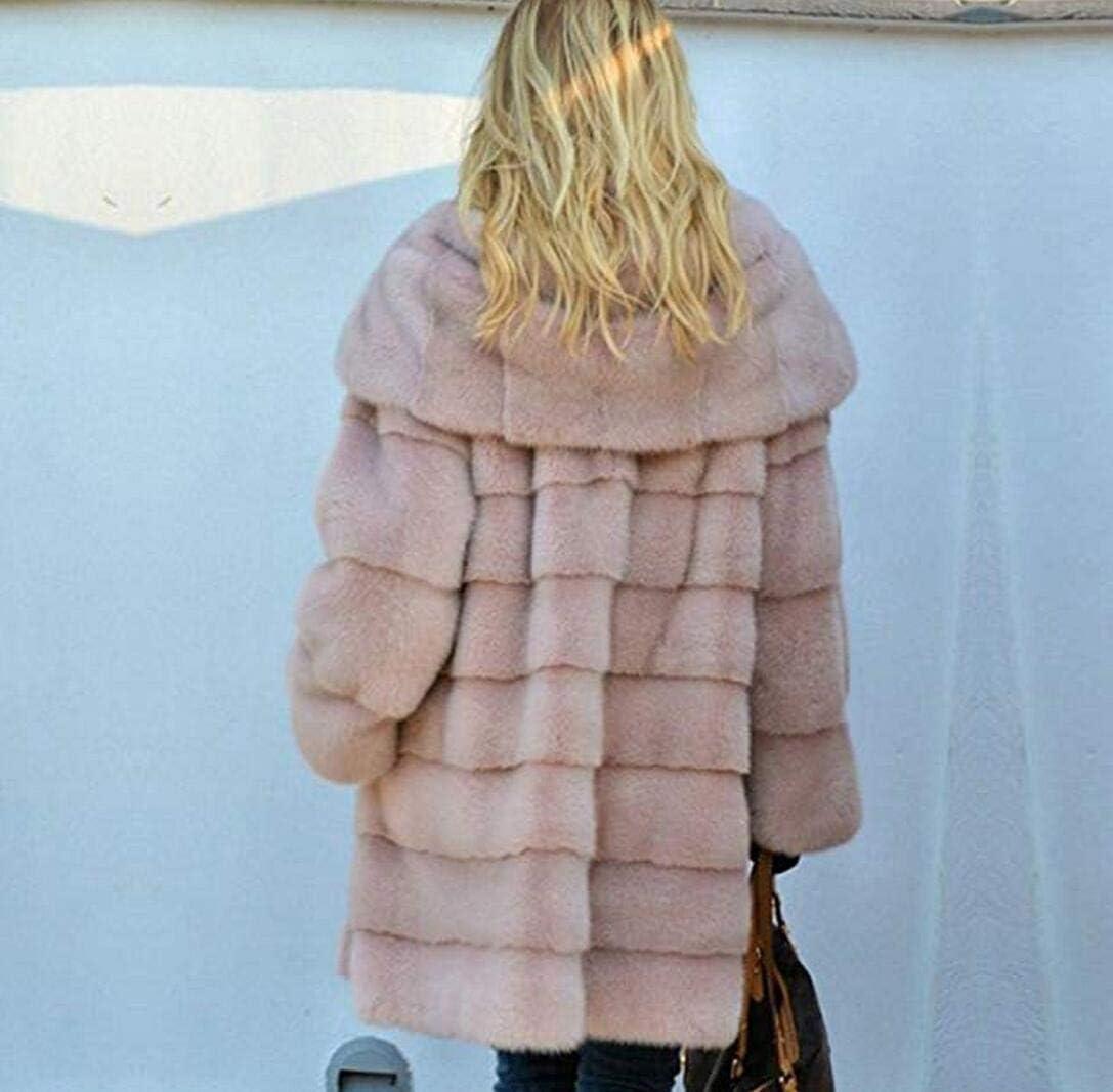 ZYLL Winter Starke warme Faux-Pelz-Mantel-Frauen Plus Größe mit Kapuze Langarm-Pelz-Jacke Winter Pelzmäntel Gray