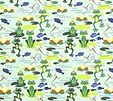 Stoff Baumwolle Meterware Jersey grün Frosch Teich
