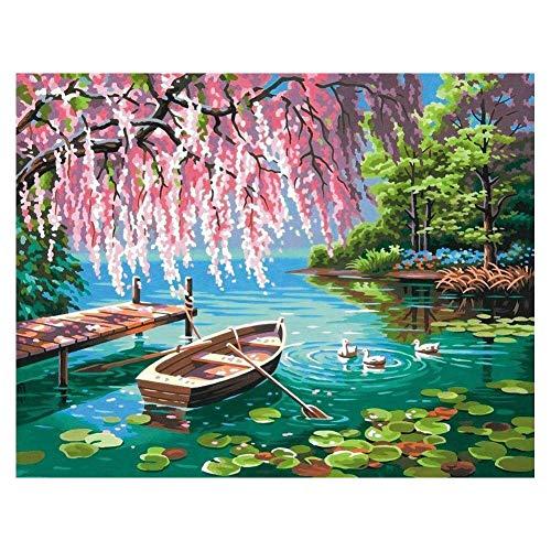 DIY Pintura por Números Barco de Primavera Pintar por Numeros Adultos Niños con Pinceles y Pinturas Decoraciones para el Hogar 16 * 20 Pulgadas, Sin Marco