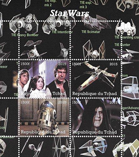 Star Wars Sellos para coleccionistas con Han Solo R2-D2 y Luke Skywalker / MNH / 2015 / Chad