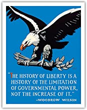 Bald Eagle - The History of Liberty - Woodrow Wilson - Vintage Political Poster by C. R. Miller c.1920s - Fine Art Print - 11in x 14in